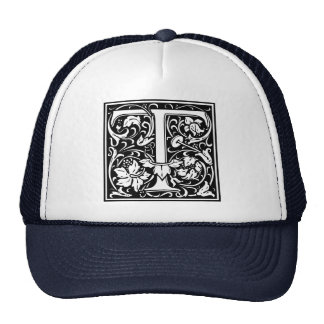 Letter T Medieval Monogram Vintage Initial Trucker Hat