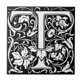 Letter T Medieval Monogram Vintage Initial Small Square Tile