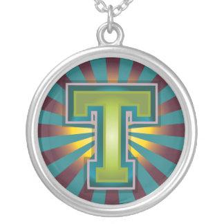 Letter 'T' Round Pendant Necklace
