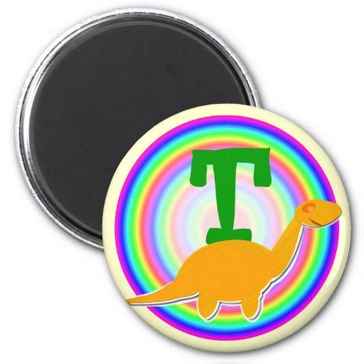 Letter T Orange Dinosaur Diplodocus Fridge Magnet