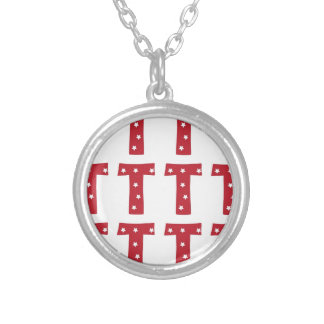 Letter T - White Stars on Dark Red Personalised Necklace