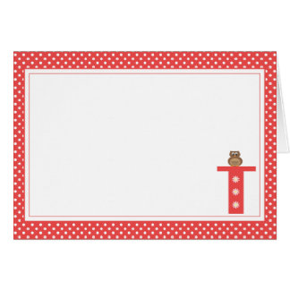 Letter T with Owl Blank Note Card
