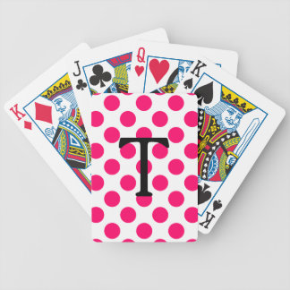 Letter T with Pink Polka Dots Bicycle Playing Cards
