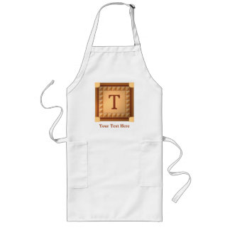 Letter T: Wood Look Initial with Custom Text Long Apron