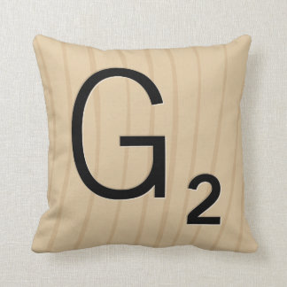 Letter Tile Pillow: Wood G/H (4 of 17) Throw Cushion