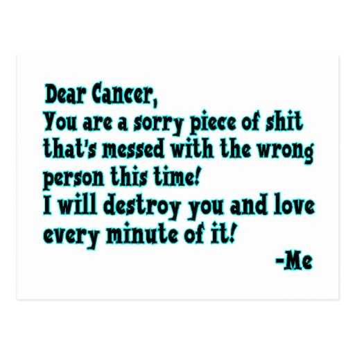 Letter To Cancer Post Card