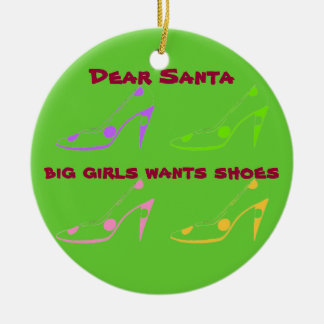 Letter to Santa for Women Who Love Shoes Round Ceramic Decoration