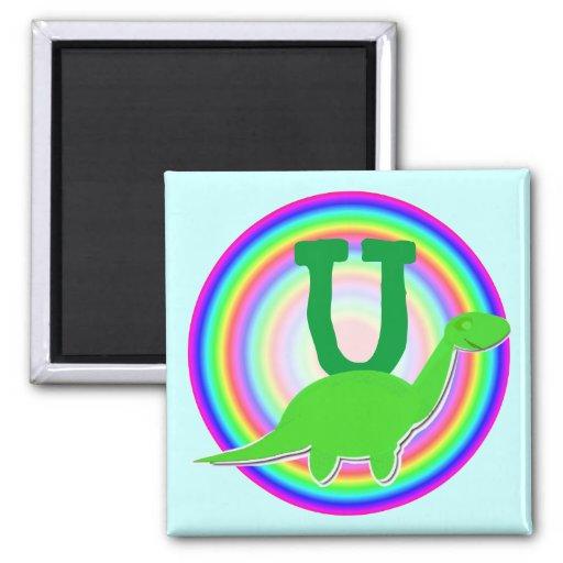 Letter U Green Dinosaur Diplodocus Fridge Magnet