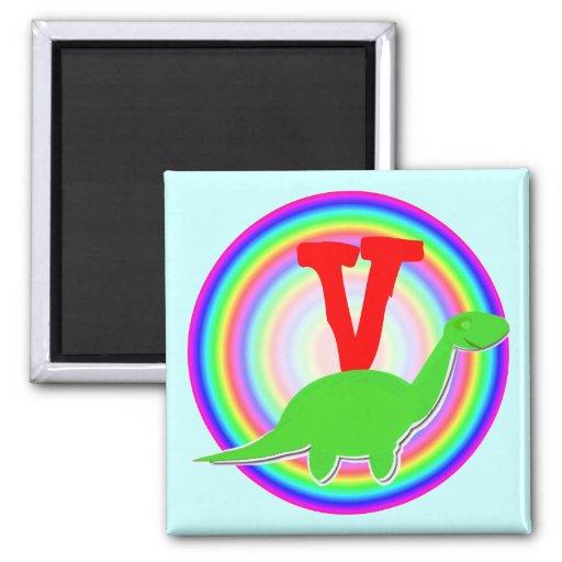 Letter V Green Dinosaur Diplodocus Fridge Magnet