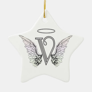 Letter V Initial Monogram with Angel Wings & Halo Christmas Ornament