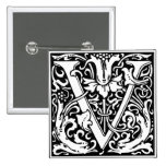 Letter V Mediaeval Monogram Vintage Initial 15 Cm Square Badge