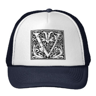Letter V Medieval Monogram Vintage Initial Trucker Hat
