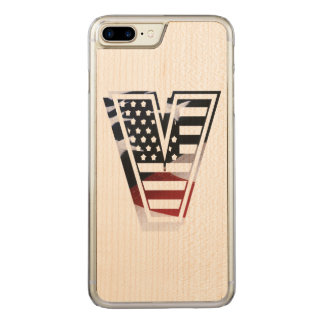 Letter V Monogram Initial Patriotic USA Flag Carved iPhone 8 Plus/7 Plus Case
