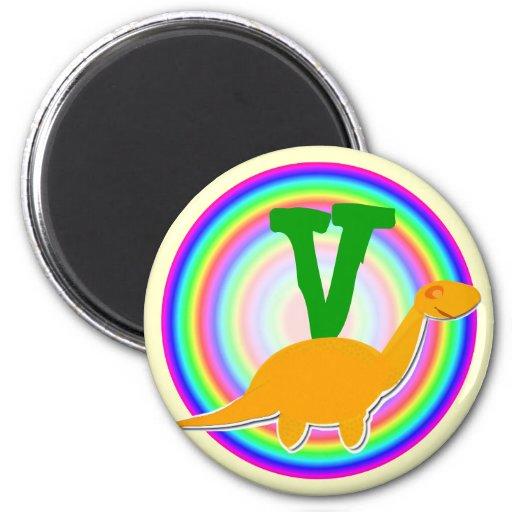 Letter V Orange Dinosaur Diplodocus Fridge Magnet