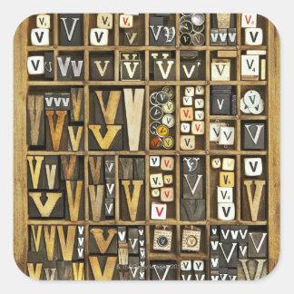 Letter V Square Sticker