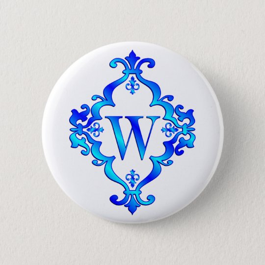 Letter W Blue 6 Cm Round Badge