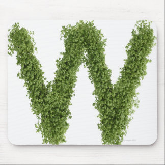 Letter 'W' in cress on white background, Mouse Mat
