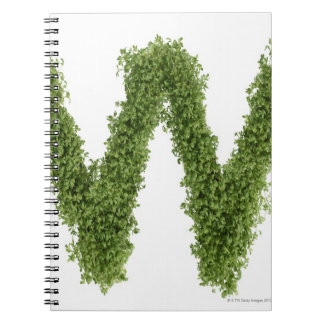 Letter 'W' in cress on white background, Notebooks
