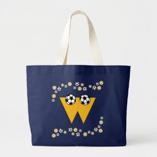 Letter W in Soccer Gold Monogram Tote Canvas Bags