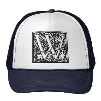Letter W Medieval Monogram Vintage Initial Trucker Hat