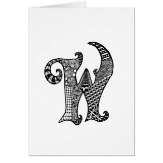 Letter W Monogram in Black and White Card