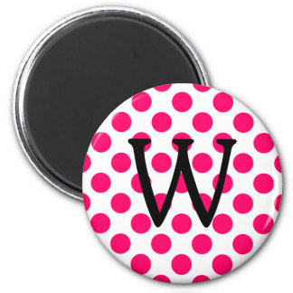 Letter W on White Pink Polka Dots Magnet