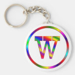 Letter W Rainbow Keychains