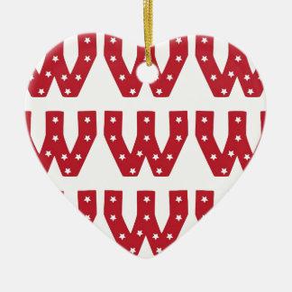 Letter W - White Stars on Dark Red Christmas Ornament