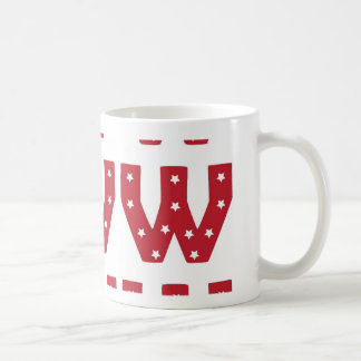 Letter W - White Stars on Dark Red Coffee Mug