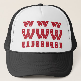 Letter W - White Stars on Dark Red Trucker Hat