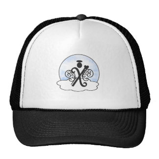 Letter X Alphabet Initial Monogram w Angel Clouds Hats