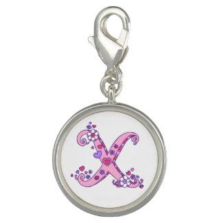 Letter X monogram heart flower pink art charm