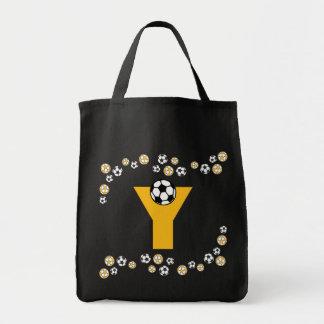 Letter Y in Soccer Gold Monogram Tote Canvas Bag