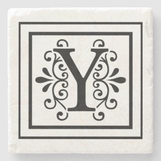 Letter Y Monogram Stone Coasters