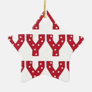 Letter Y - White Stars on Dark Red Christmas Ornament