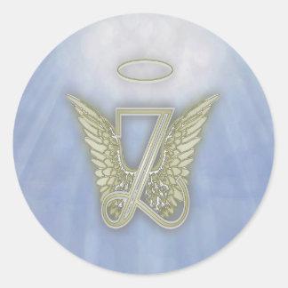 Letter Z Angel Monogram Classic Round Sticker