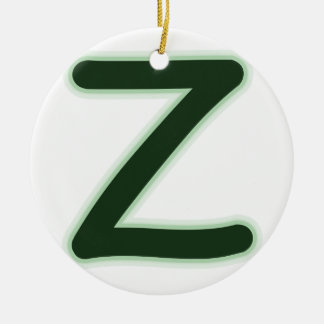 Letter Z forest green glow Christmas Ornament