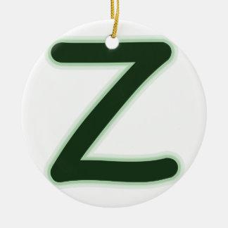 Letter Z forest green glow Round Ceramic Decoration