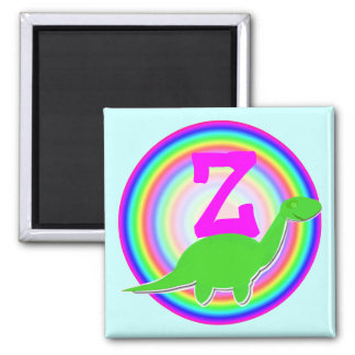 Letter Z Green Dinosaur Diplodocus Fridge Magnet