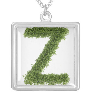 Letter 'Z' in cress on white background, 2 Silver Plated Necklace