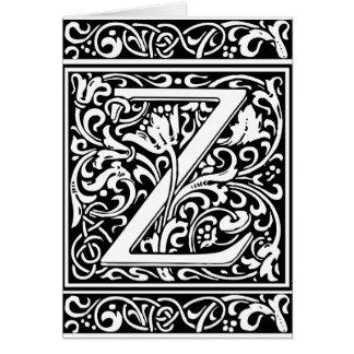 Letter Z Medieval Monogram Vintage Initial Greeting Card