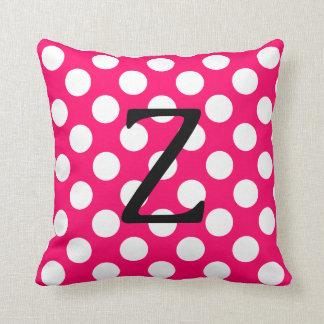 Letter Z Pink and White Polka Dot Cushion