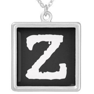 Letter Z Square Pendant Necklace