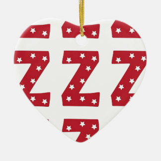 Letter Z - White Stars on Dark Red Ceramic Heart Decoration