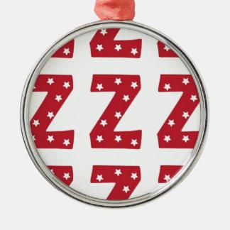 Letter Z - White Stars on Dark Red Christmas Ornament