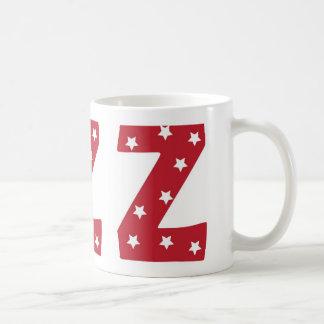 Letter Z - White Stars on Dark Red Coffee Mug