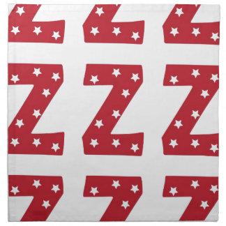 Letter Z - White Stars on Dark Red Printed Napkins