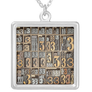 Letterpress 5 silver plated necklace