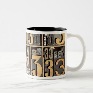 Letterpress 5 Two-Tone coffee mug