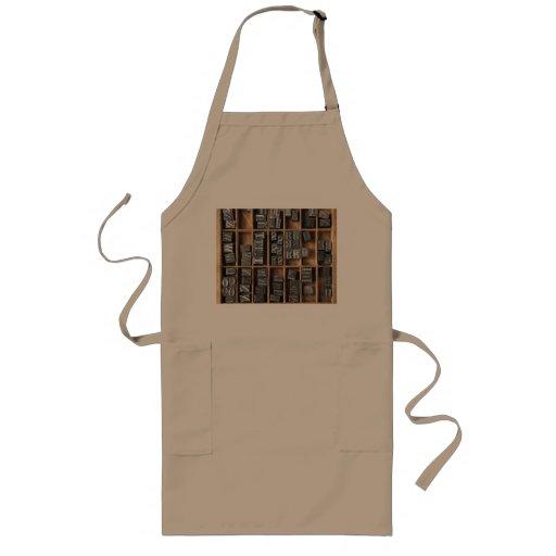 letterpress lead type in a case long apron